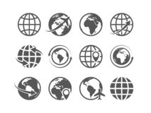 Globe icons set. World earth globe map internet global commerce tourism vector symbols vector illustration