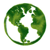 Globe illustration covered with grass. Royalty Free Stock Photos