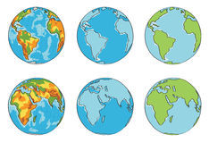 Globe illustration with different colors  Royalty Free Stock Image