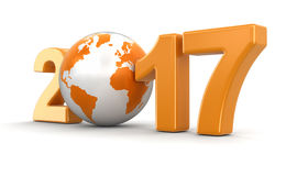 Globe with 2017. Image with clipping path Stock Image