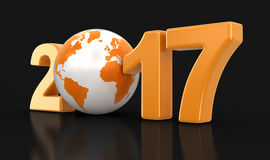 Globe with 2017. Image with clipping path Stock Photography