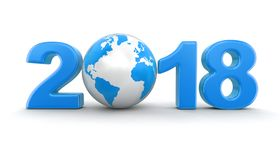 Globe with 2018. Image with clipping path Royalty Free Stock Images