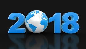 Globe with 2018. Image with clipping path Stock Photography