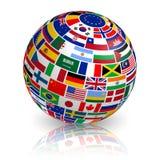 globe incliné du drapeau 3D Photos libres de droits
