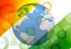 Globe on Indian flag Stock Photography