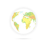 Globe with indicating relief. Dotted multicolor vector illustration isolated on white background Stock Image
