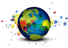 Globe and ink splatter background Stock Photography