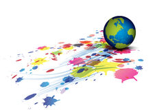 Globe and ink splatter background Stock Photos