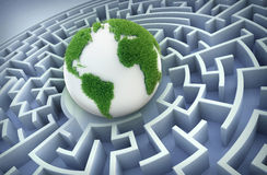 Globe inside a maze Royalty Free Stock Photography
