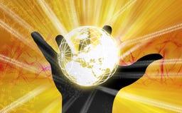 Globe inside  paw Royalty Free Stock Image