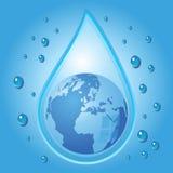 Globe inside water drop Stock Image