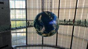 Globe with interactive projections inside National Museum of Emerging Science and Innovation, Miraikan, Tokyo, Japan
