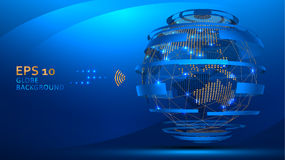 Globe internet background . Web futuristic technology concept. Planet Earth wire frame and dots Royalty Free Stock Photography