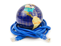 Globe and internet cable Stock Image