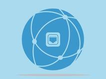 Globe Internet Connection icon, vector illustration, minimal design Royalty Free Stock Photos