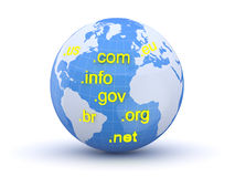 Globe and internet domain. Earth and world map. 3d Royalty Free Stock Image