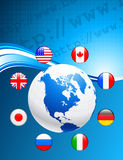 Globe with Internet Flag Buttons Background Stock Photo