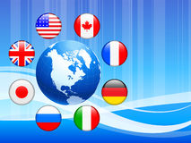 Globe with Internet Flag Buttons Background Royalty Free Stock Images