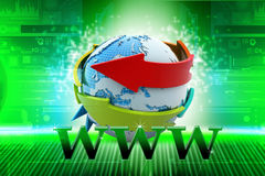 Globe with internet icon Stock Images