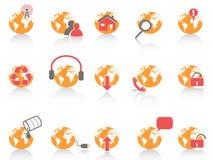 Globe with internet tool icon Stock Photos