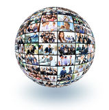 A globe is isolated on a white background with many different business people Royalty Free Stock Image