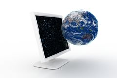 Globe jumping out of pc monitor Royalty Free Stock Image