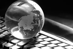 Globe and keyboard Royalty Free Stock Photo
