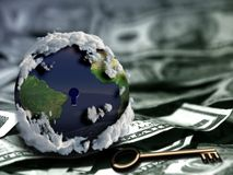 Dollars is a key. Globe with keyhole and key on US dollars stock image
