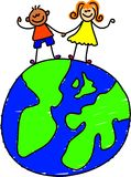 Globe kids. Two little kids standing together ontop of the world - toddler art series Royalty Free Stock Image