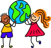 Globe kids. Children from different ethnic backgrounds holding up the globe together - toddler art series Stock Photos