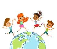 Globe kids. Children Earth day. Vector illustration stock images