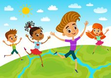Globe kids. Children Earth day. Vector royalty free stock image