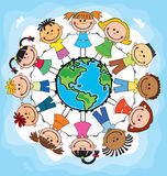 Globe kids. Children Earth day. Vector. Globe kids. International friendship day. Earth day. Vector illustration of diverse Children Holding Hands Stock Photography
