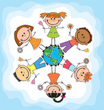 Globe kids. Children Earth day. Vector. Globe kids. International friendship day. Earth day. Vector illustration of diverse Children Holding Hands Royalty Free Stock Image