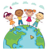 Globe kids. Children Earth day. Vector. Globe kids. International friendship day. Earth day. Vector illustration of diverse Children Holding Hands Royalty Free Stock Images
