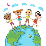 Globe kids. Children Earth day. Vector. Globe kids on globe. International friendship day. Earth day. Vector illustration of diverse Children Holding Hands Royalty Free Stock Photo