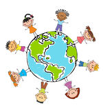 Globe kids. Children Earth day. Vector. Globe kids. International friendship day. Earth day. Vector illustration of diverse Children Holding Hands Stock Image