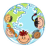 Globe kids. Children Earth day. Vector Royalty Free Stock Photos