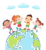 Globe kids. Children Earth day. Vector. Globe kids. International friendship day. Earth day. Vector illustration of diverse Children Holding Hands Stock Photos