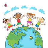 Globe kids. Children Earth day. Vector. Globe kids on globe. International friendship day. Earth day. Vector illustration of diverse Children Holding Hands Stock Images