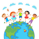 Globe kids. Children Earth day. Vector. Globe kids on globe. International friendship day. Earth day. Vector illustration of diverse Children Holding Hands Royalty Free Stock Photography