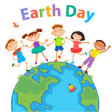 Globe kids. Children Earth day. Vector Stock Photography