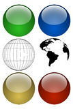 Globe Kit. Build your own style globe using these isolated globe elements vector illustration