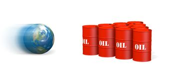 Globe knocking down oil barrels Royalty Free Stock Image
