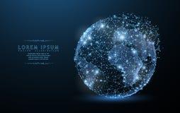 Globe L'icône polygonale de maille de wireframe avec le bord emietté ressemble à la constellation Illustration ou fond de concept Illustration de Vecteur