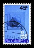 Globe, l'ONU (les Nations Unies), 25ème serie d'anniversaire, vers 1970 Image stock