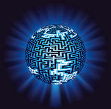 Globe labyrinth - maze with illumination Stock Photography