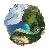 Globe landscapes diversity royalty free illustration