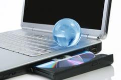 globe on laptop Stock Image