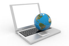 Globe on the laptop Royalty Free Stock Photography